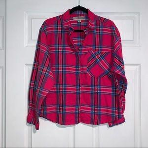 JOAN HARPER flannel cropped pink vintage size 14